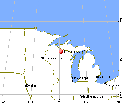 Map indicates radon Minocqua Radon Testing and Mitigation 11070 Bellwood Dr Ste 42, Minocqua, WI 54548 715-405-1122